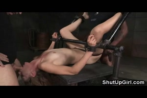 Shackled Girl Fucked Into Squirting Orgasm